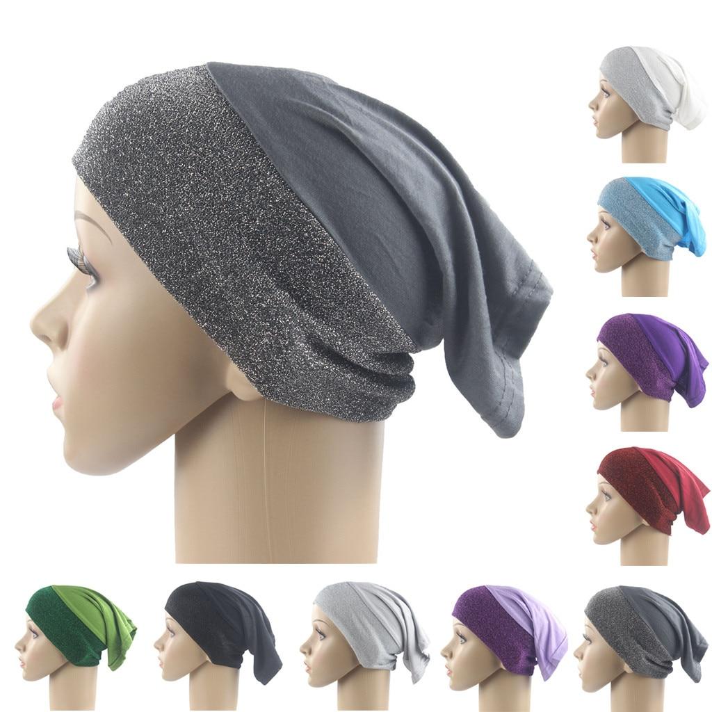 summer   beanies   for women Casual turban head wrap Base cap Muslim Stretch Turban Hat Chemo Hair Head Scarf Headwrap Shower Cap