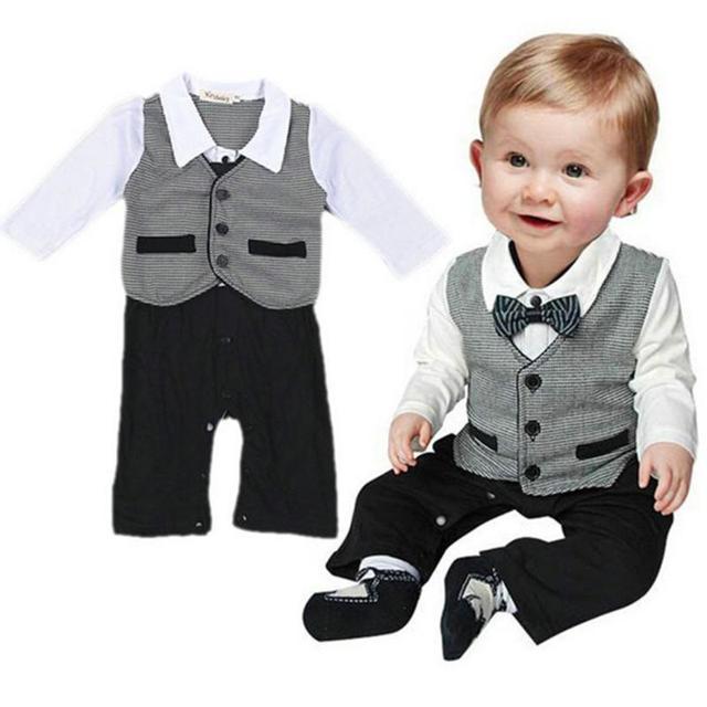 cd14081ad9572 Nice 2017 Toddler Boys Clothing Infant Boy Formal Gentleman 2 PCS Clothes  Button Necktie Suit Romper Bebe Shirts Pants