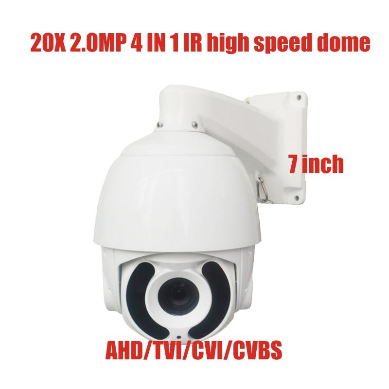 Free shipping New 2MP IR 120M 20x Optical Zoom AHD TVI CVI CVBS 4 In 1 PTZ  Speed dome Camera 1080P 2 Megapixel  4.7~94mm new day night ir 150m tvi cvi ahd cvbs 2 0mp 7 0inch ptz camera x33 optical zoom 1080p 4 6 152mm lens with wiper ip66 waterproof