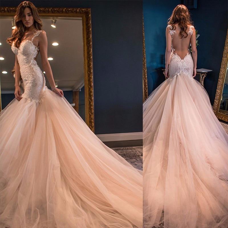 2017 Champagne Sexy Mermaid Wedding Dress Costume Made