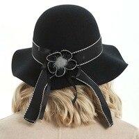 Fedora Hat for Women Men Ladies Wool Winter Jazz Wide Brim Large Black Cowboy Panama Hat M84