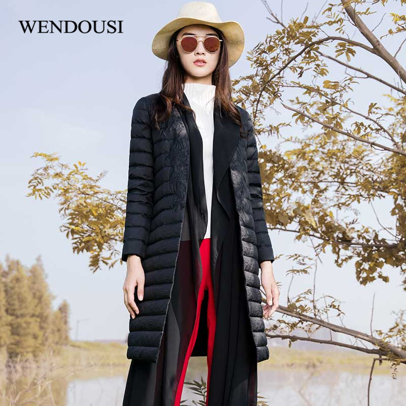 WENDOUSI 2018 Spring Thin Slim Women Down Jacket New Pure Color Slender Outerwear Fashion Leisure Female Long Jacket QY1813