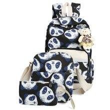 3 шт./лот Новинка Мода Panda Дизайн девушки Студенческая школьная сумка Высокое качество Прочный Холст Рюкзак с медведем кулон
