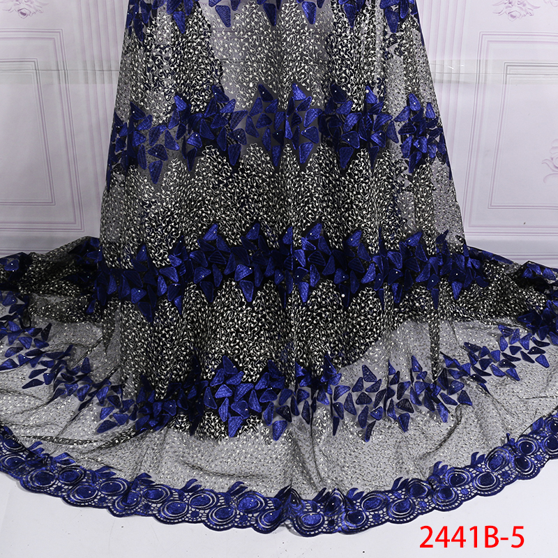 2020 Nigerian Laces Fabrics New African Lace Fabric High Quality French Embroidery Tulle Laces For Bridal Party KS2441B