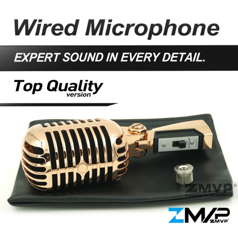 Free Shipping! 55 SH Classical Vintage Style Professional Vocal Karaoke Handheld Dynamic 5SH Microphone Rose Gold Color  free shipping high quality version sm 58 58lc sm58lc wired vocal karaoke handheld dynamic microphone microfone microfono mic