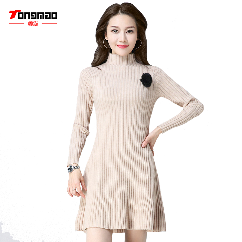 TONGMAO 2018 Spring New Casual Turtleneck Long sleeves Knitted Sweater dress Women Cotton slim bodycon dress pullover Female