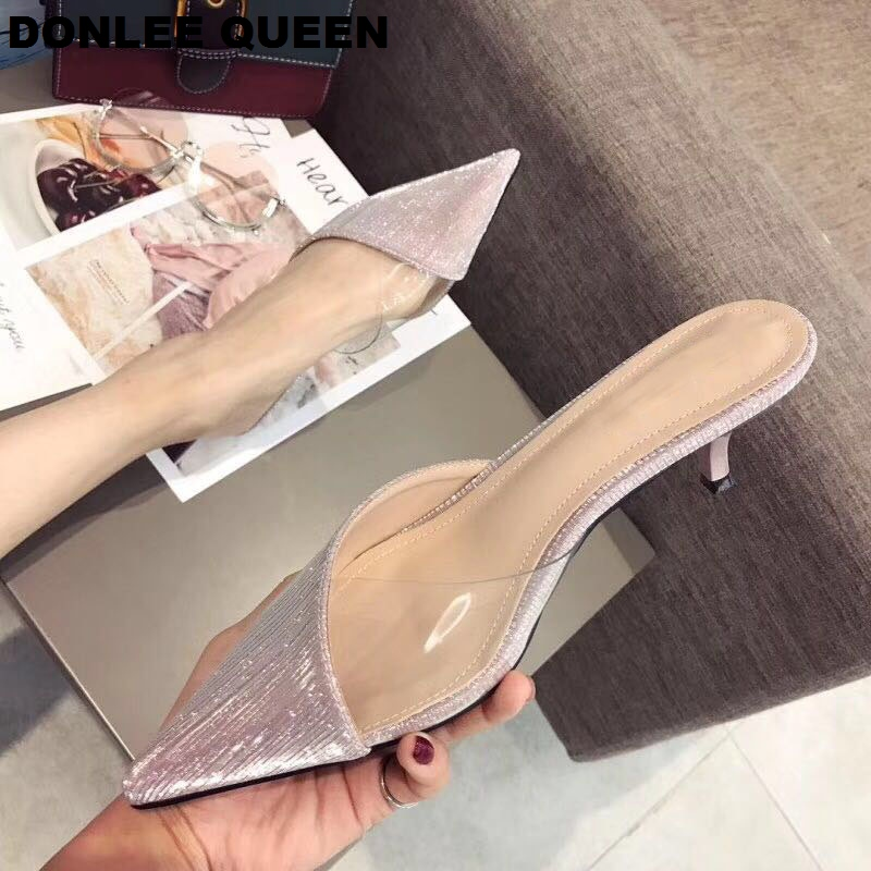 2019 Summer Shoes Women Transparent Sequins Pointed Toe Slippers Kitten Heel Sandal Solid Bling Dress Shoe Outdoor Slipper Mujer2019 Summer Shoes Women Transparent Sequins Pointed Toe Slippers Kitten Heel Sandal Solid Bling Dress Shoe Outdoor Slipper Mujer