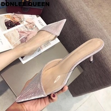 2019 Summer Shoes Women Transparent Sequins Pointed Toe Slippers Kitten Heel Sandal Solid Bling Dress Shoe Outdoor Slipper Mujer