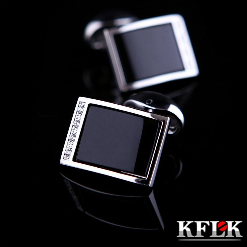 KFLKジュエリーシャツカフリンクスメンズブランドクリスタルファッションカフリンクス男性高級ウェディングボタン高品質黒送料無料