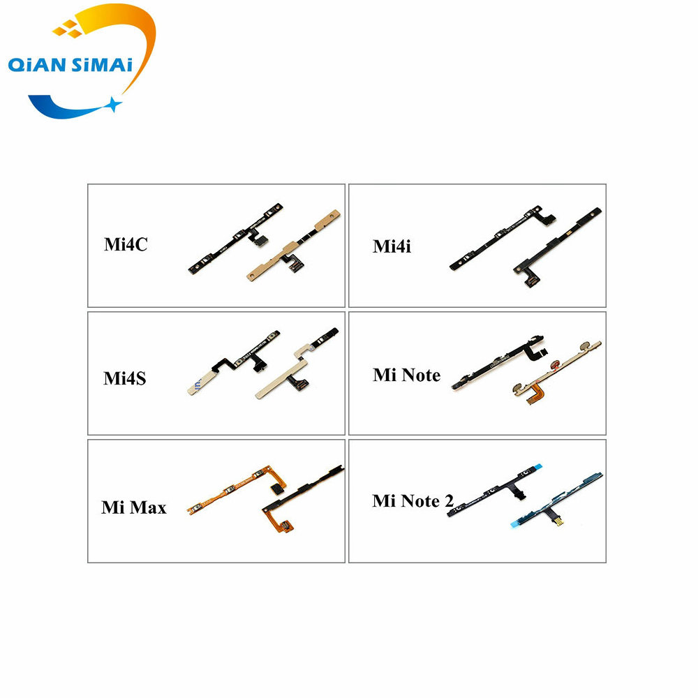 QiAN SiMAi 1PCS New Volume & Power On/off Button Flex Cable For Xiaomi Mi4C Mi4i Mi4s Mi Note Max Note2 Red Note 3G 4G 2 3 4 4X