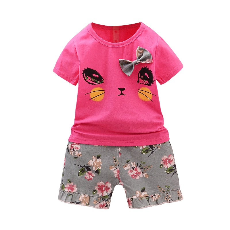 Infant Clothes Toddler Children Summer Baby Girls Clothing Sets Cartoon 2pcs Cat Flower Clothes Sets Girls Suits