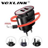 VOXLINK 2 Port USB Charger Built In Cable EU US UK Plug 5V 3 4A Fast