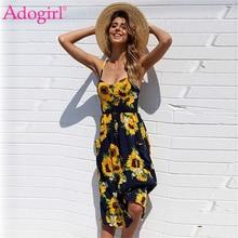 8df030f954c65 Adogirl Marka Ayçiçeği Baskı Spagetti Sapanlar Yaz Elbise Kadınlar Seksi V  Boyun Backless Casual Midi Elbise