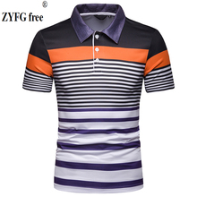 ZYFG free men Polo stripe short-sleeved turn-down collar polo shirt simple fashion male high-quality tops