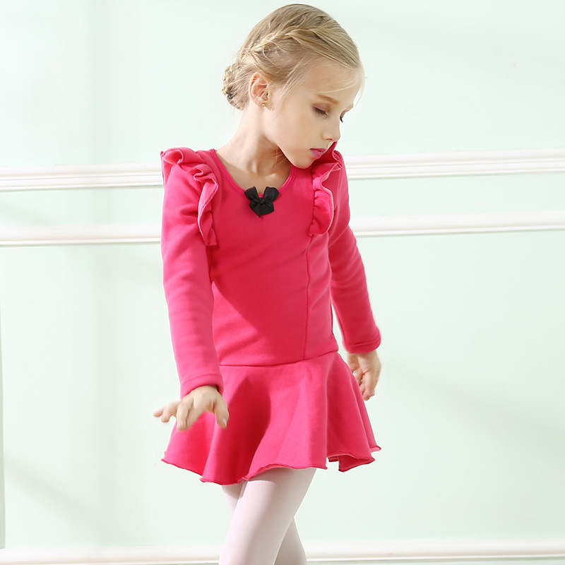 Children Cotton Dancing Dress Girls Dancing Skirt and Winter Clothing Long Sleeved add Wool Thickened Latin Dance Clothes