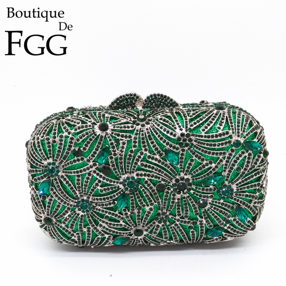 Boutique De Fgg Hollow Out Flower Leaf Green Crystal Women Evening Bags Wedding Dinner Diamond Handbag Purse Bolsa Mano In Top Handle From Luggage