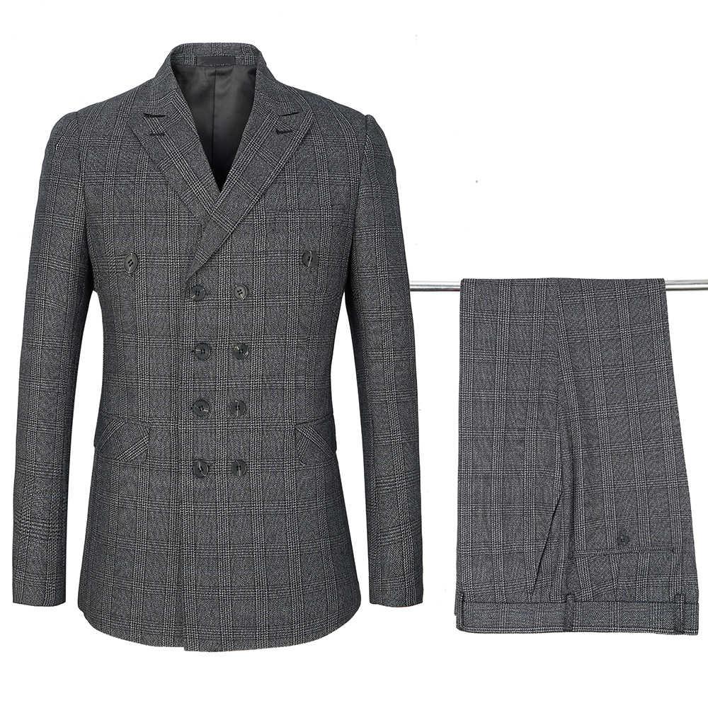 Najwyższej jakości garnitury mężczyzn klasyczny Plaid garnitur podwójne piersi klapa biznes na co dzień profesjonalne męskie garnitur pana młodego suknia ślubna
