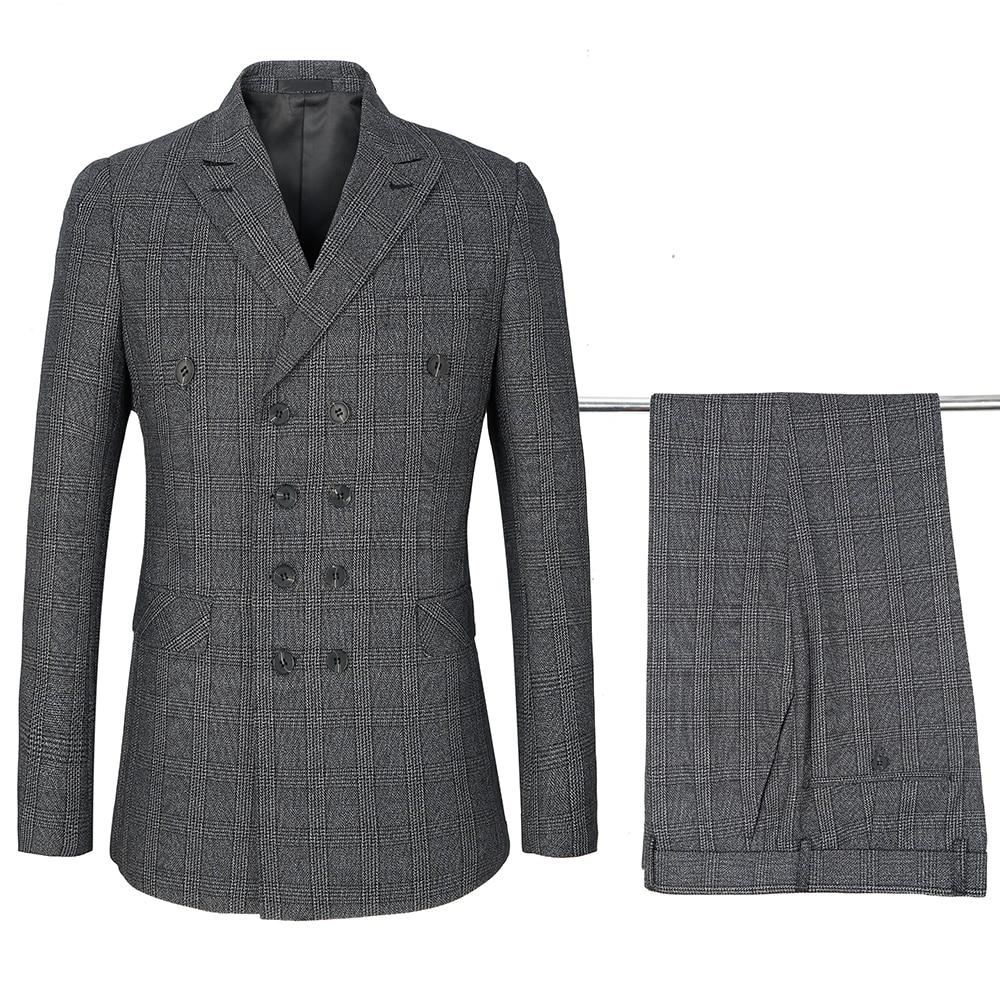 Top Quality Suits Men Classic Plaid Suit Double Breasted Lapel Business Casual Professional Men's Suit Groom Wedding Dress