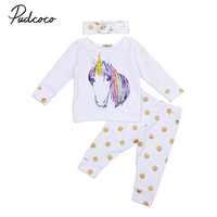 Adorable Newborn Baby Girl Clothes 2017 Autumn Unicorn Long Sleeve T Shirt Tops Gold Polka Dot