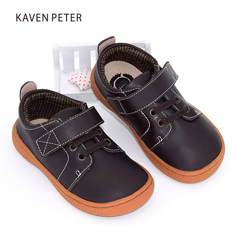 2017 Genuine Leather shoes Autumn children casual shoes kids girls leather shoes boys sneakers coffee brown shoes size22-31