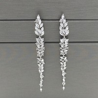 Exquisite Design Leaf Ear Line Long Stud Earring Jewelry AAA Cubic Zironia Brincos For Women Bijoux