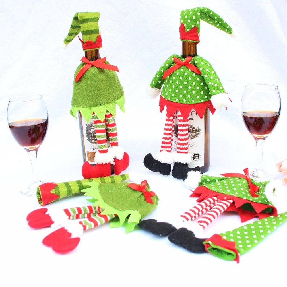 Noël Santa Claus bouteille vin couvercle chapeau Noël maison partie table décor