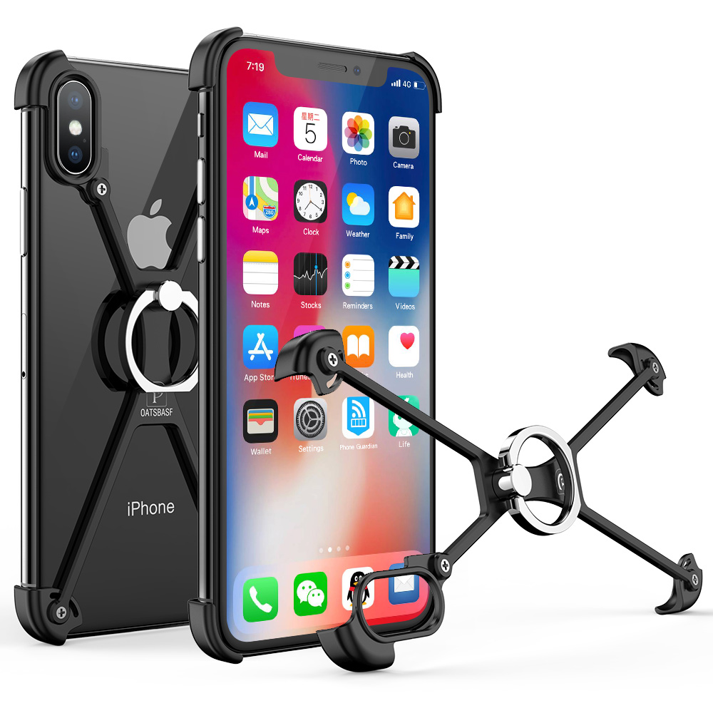 OATSBASF X Shape with Ring Holder case For iPhone XS Shell for MAX Case Metal Bumper With Gift Glass Film