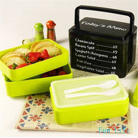 Hot Sale Three Layer Rectangle Lunch Box Container Eco Friendly Lunchbox Bento Container For Food Dinnerware
