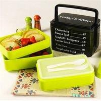 Sıcak Satış Üç-Katmanlı Dikdörtgen Konteyner Çevre Dostu Lunchbox Bento Konteyner Gıda Yemek Setleri Promosyon Kullanım Için