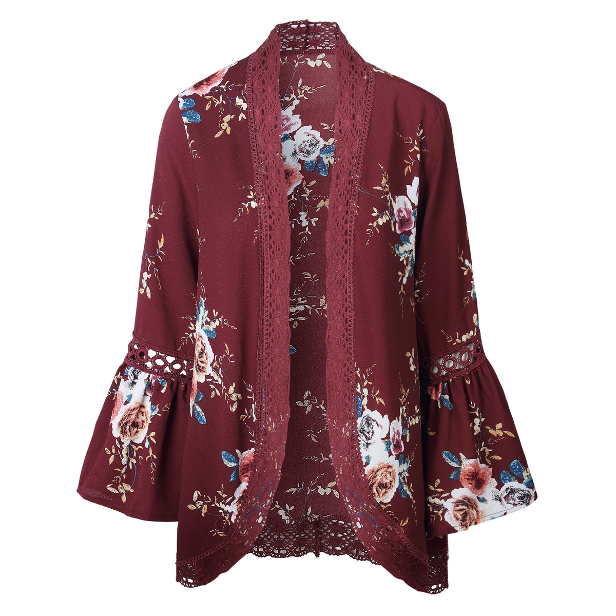HTB1ZRk7kSMmBKNjSZTEq6ysKpXaV Women Plus Size Loose Casual Basic Jackets Female 2018 Autumn Long Flare Sleeve Floral Print Outwear Coat Open Stitch Clothing