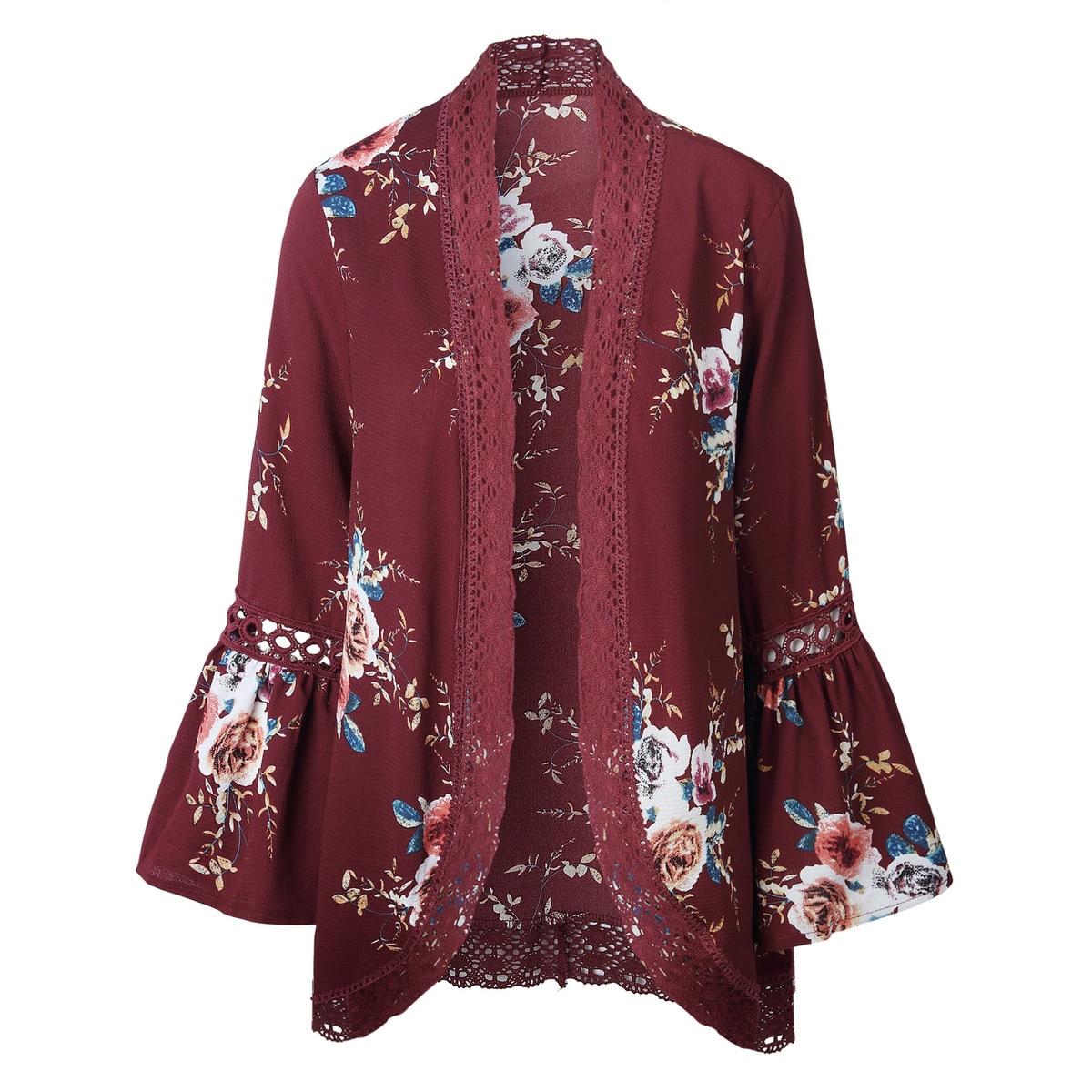 HTB1ZRk7kSMmBKNjSZTEq6ysKpXaV Women Plus Size Loose Casual Basic Jackets Female 2018 Autumn Long Flare Sleeve Floral Print Outwear Coat Open Stitch Clothing