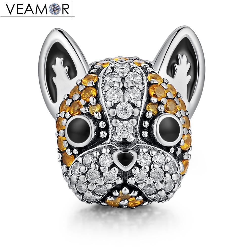VEAMOR Genuine 925 Sterling Silver Pave CZ French Bulldog Doggy Animal Dog Charms Beads Fit Pandora Bracelets DIY Jewelry Making