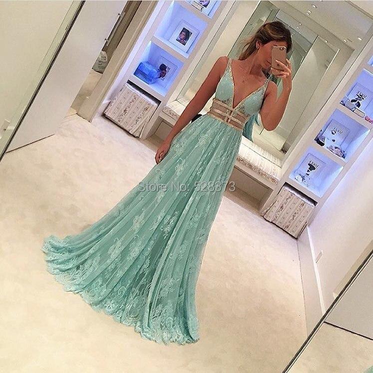 YNQNFS PD3 Vestido De Festa Longo Aqua Green Prom Lace Dress Sexy V Neck See Through