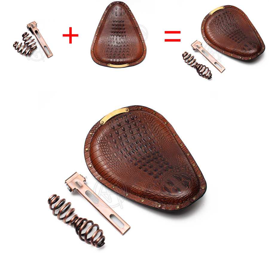 Motorcycle Retro Crocodile PU Leather Solo Rivet Seat 3 quot Spring Bracket for Harley Custom Chopper Bobber Leather Saddle Seat