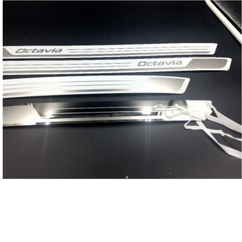 Stainless Steel Door Sill Scuff Plate Guards For Skoda Octavia A5 A7 2007-2016