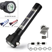 Solar Powered LED Flashlight Safety Hammer Torch Light With Power Bank Magnet Survival Tool Emergency Lights