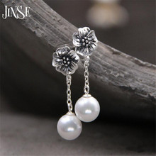 JINSE Fashion Jewelry Shell Pearl Earrings S990 Pure Silver Antique Thai Silver Flower Earrings For Women 9.50mm недорого