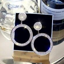 Высокое качество круглый фианит серьги для женщин дамы девушки CZ обруч с кристаллами серьги золото серебро цвет ювелирные изделия