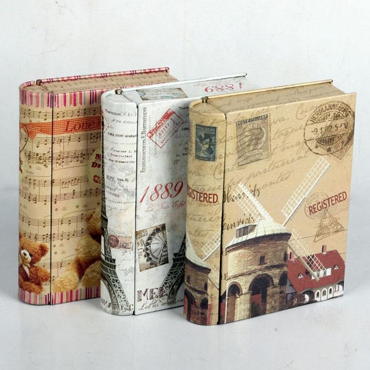 Decorative Metal Boxes With Lids : Creative cm books shape decorative storage tin