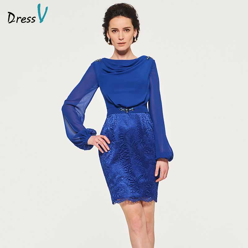 Dressv Elegant Sheath Beading Lace Long Sleeves Mother Of Bride Dress Short Mini Lace Long Mother Evening Gown Custom
