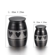IJU010-3 Love Heart Black Color Stainless Steel Memorial Urn Pet Cremation Ashes Keepsake Urn Human Funeral Mini Ashes Urn