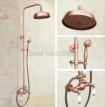 Bathroom 8 inch Rainfall Dual Ceramic Handle Shower Faucet Set Antique Red Copper Finish Wall Mounted Mixer Tap lrg581 wall mounted 8 in shower faucet bathroom ceramic handheld single handle hot