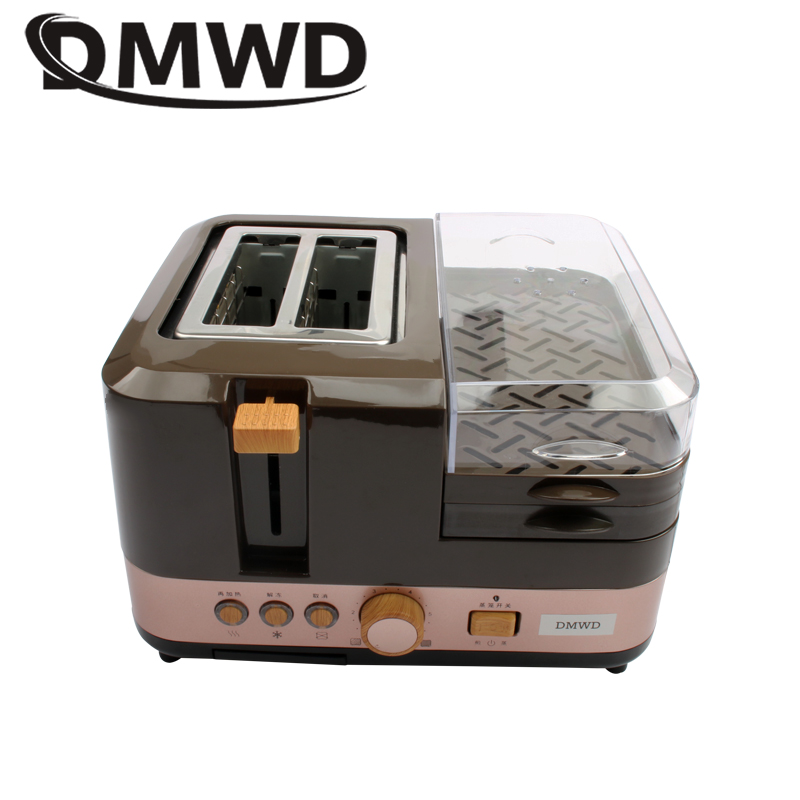 DMWD Electric Breakfast Bread Baking Machine 2 Slices Toaster Oven Eggs Steamer Sausage Grill Roaster Omelette Frying Pan Heater Тостер