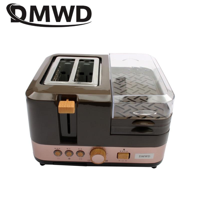 DMWD электрическая машина для выпечки хлеба на завтрак, 2 ломтика, тостер, печь, яйца, пароварка, брикет, жаровня, омлет, сковорода, нагреватель