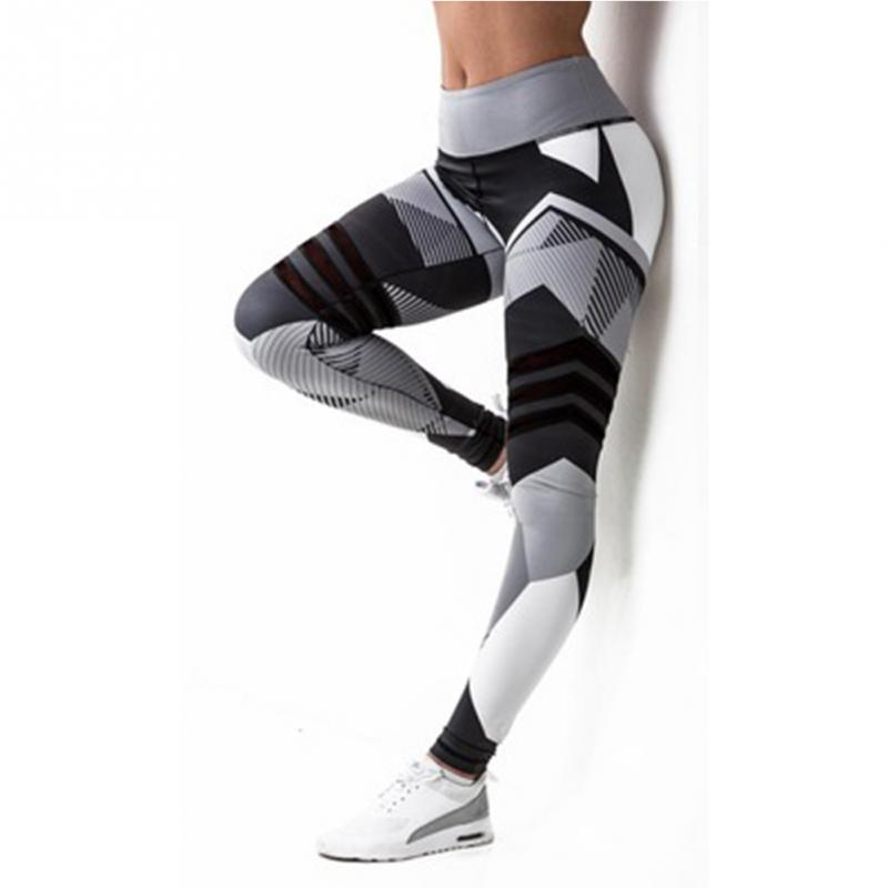Autumn Womens Sporting Leggings Black Print Workout Push Up Fitness Legging Pants Slim Jeggings Wicking Force Exercise Clothes