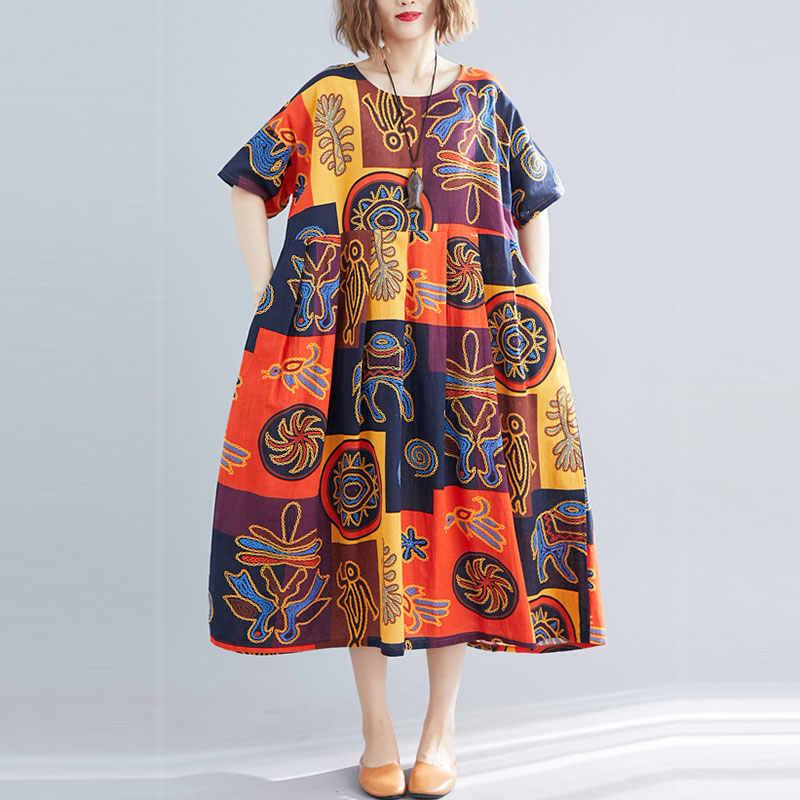 F & je женское платье большого размера летнее свободное с рукавами «летучая мышь» длинное хлопковое женское винтажное платье с принтом Большие женские платья Y927