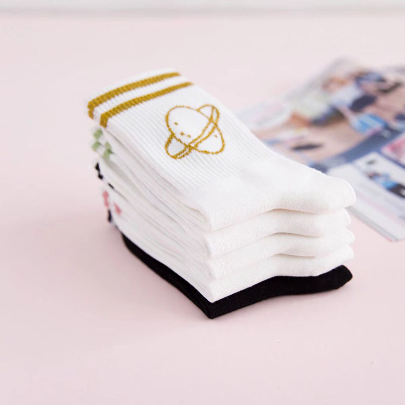 Cartoon Funny Socks Women 100% Cotton Socks Happy Colorful Girls Harajuku Socks Silver Striped Spring Lady Casual Soft 2018