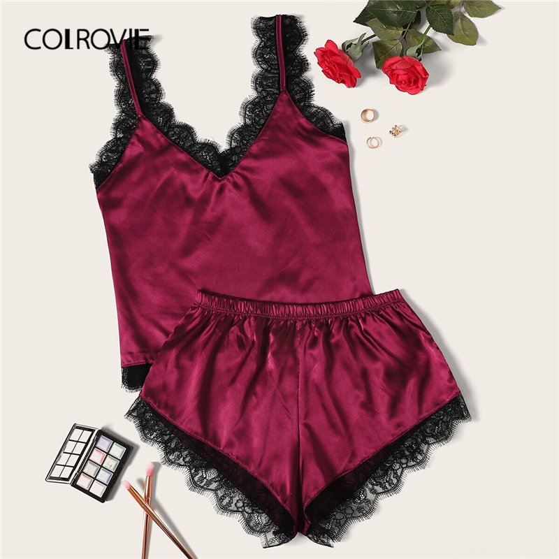COLROVIE Eyelash Lace Satin   Pajama     Set   2019 Summer Sexy   Pajamas   For Women Sleeveless Sleepwear Ladies Spaghetti Strap Loungewear