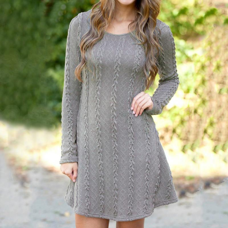 2018 New Womens Spring Autumn Winter Thicken Round Neck Pullover Knitted Casual Sweaters Women Long Slim Sweater Dresses M-XL