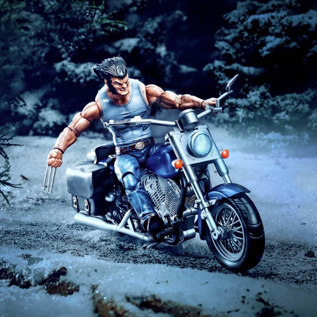 2018 Marvel Legends Series 6″ Wolverine With Motorcycle Action Figure Logan Races One-eyed Unmasked Head Claw Hand Collectible